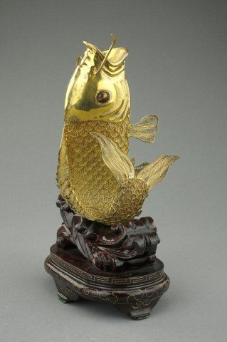 CHINESE SILVER LEAPING FISH FIGURE