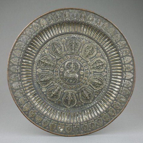 TIBETAN BRONZE DISH WITH RAISED GODDESS