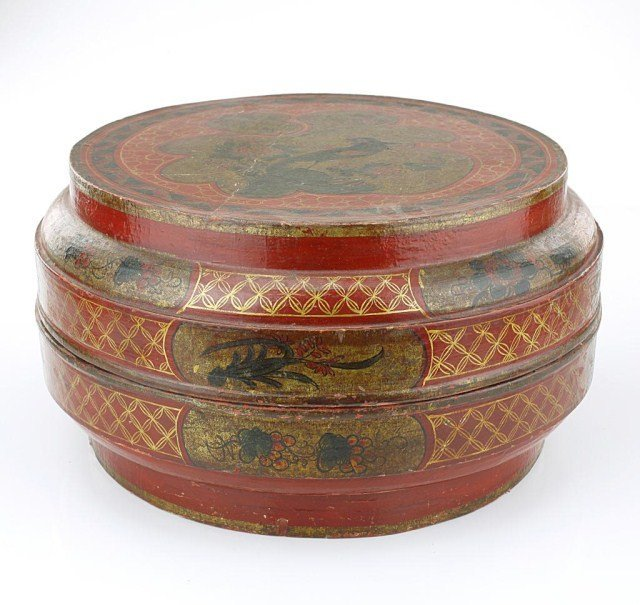 CHINESE ROUND CINNABAR LACQUER BOX AND COVER