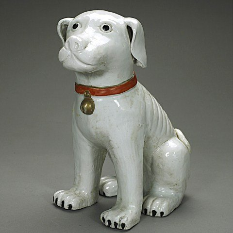 CHINESE PORCELAIN GLAZED FIGURE OF A DOG