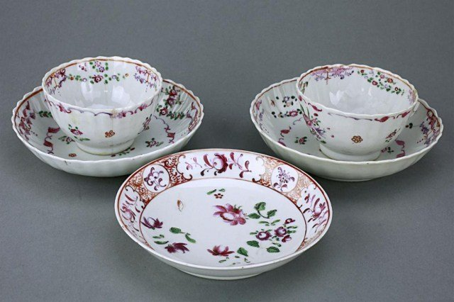 GROUP OF CHINESE EXPORT FAMILLE ROSE TEA CUPS