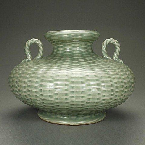 CHINESE CELADON GLAZED BASKET WEAVE DESIGN JAR