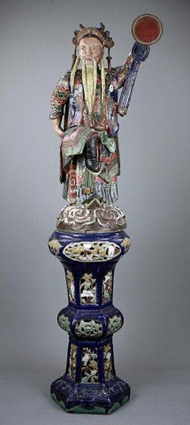 TALL CHINESE POLYCHROME MALE FIGURE ON STAND