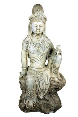 CHINESE STONE FIGURE, OF A SEATED GUANYIN