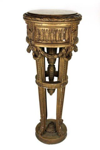 LARGE FRENCH GILT WOOD MARBLE TOP PEDESTAL