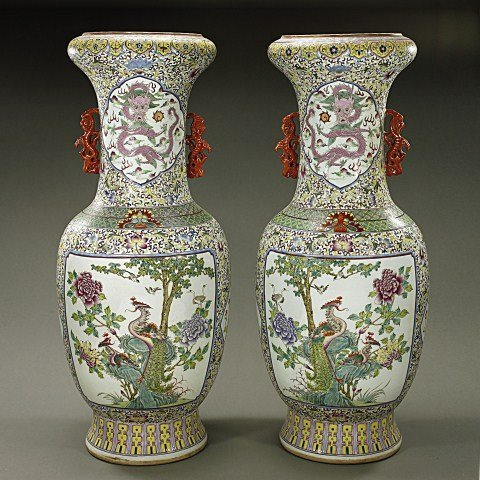 LARGE PAIR OF CHINESE FAMILLE ROSE VASES