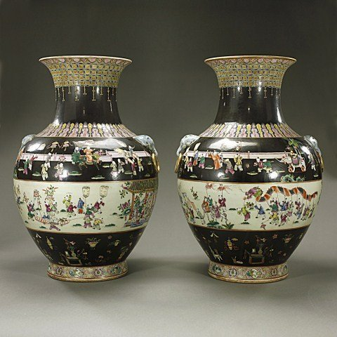 LARGE PAIR OF CHINESE FAMILLE NOIR BALUSTER VASES