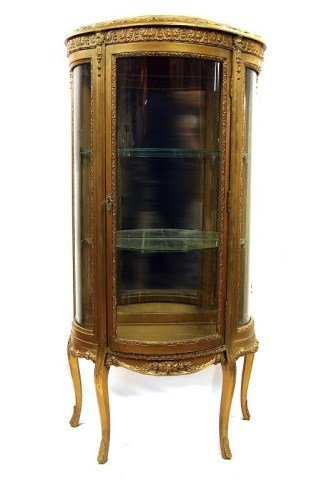 ANTIQUE FRENCH GILTWOOD CURVED GLASS VITIRINE