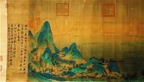 CHINESE LONG SCROLL PAINTING OF A LANDSCAPE
