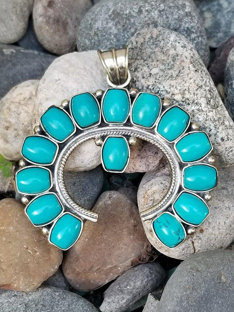 Tibetian Turquoise Necklace Pendant Squash Blossom