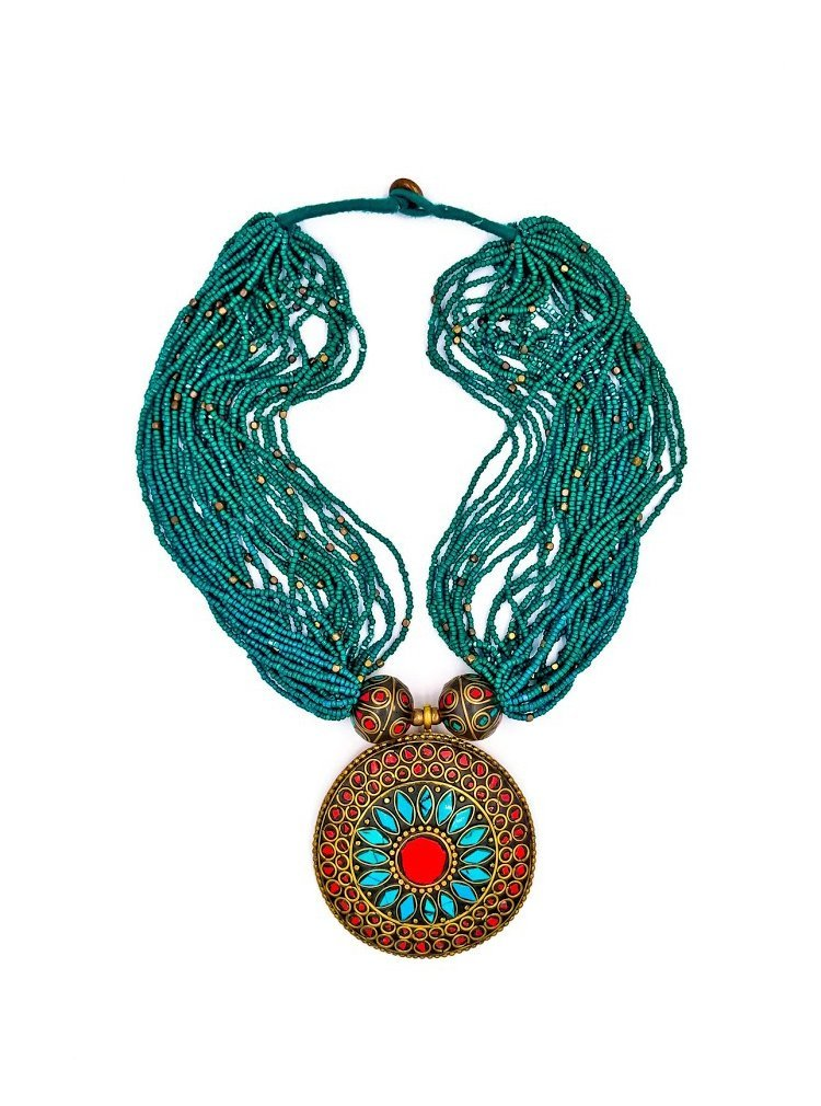 Tibetan Turquoise & Coral  Bohemian Beaded Necklace