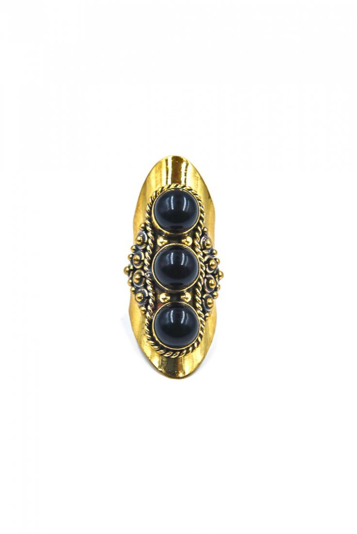 Dramatic Tibetan Black Obsidian 3 Stone Knuckle Ring