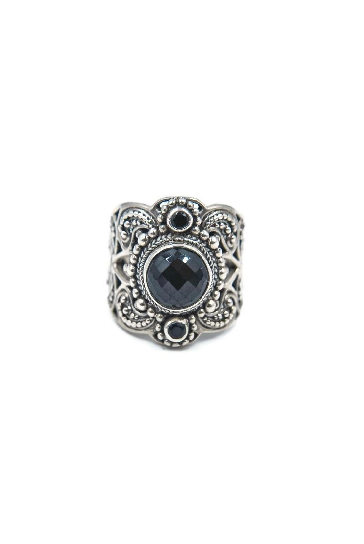 Sterling Silver, Genuine Onyx Edwardian Wide Band Ring