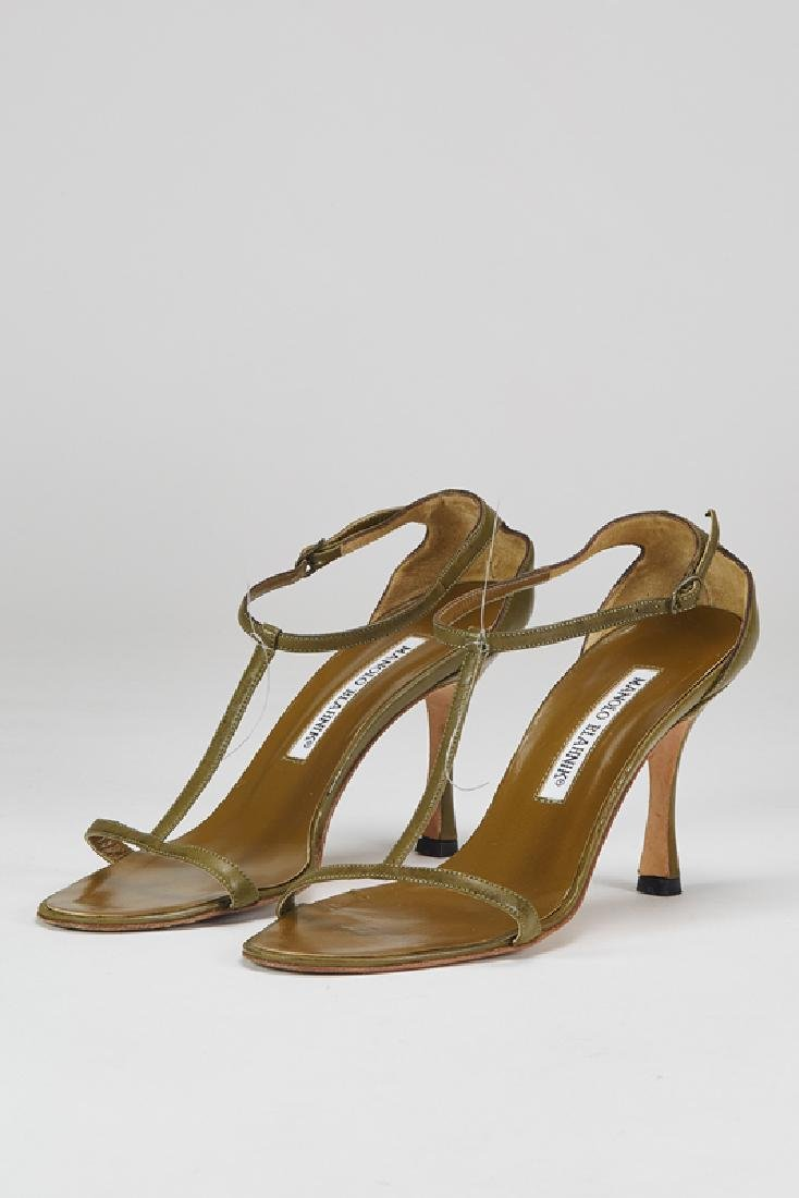 Manolo Blahnik Green T-Strap Heels (5/35.5)