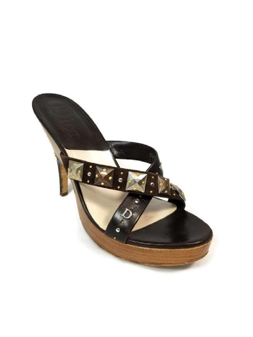 Christian Dior Brown Leather & Studs Heels (10)