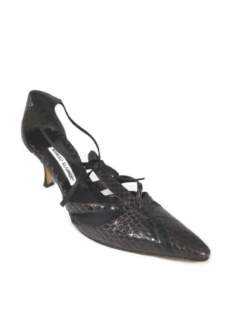 Manolo Blahnik Brown Snakeskin Cut-out Heels (10)