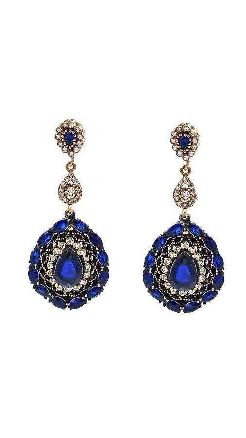 Istanbul  Sterling Silver Brass Sapphire Blue Earrings