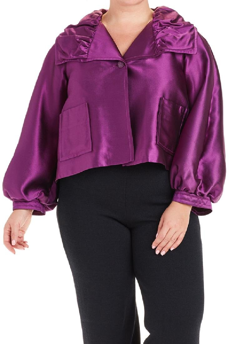 St John Purple Silk Blend Opera Jacket (14)