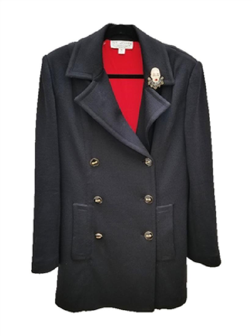St John Black Santana Knit Heavy Coat Jacket (12)