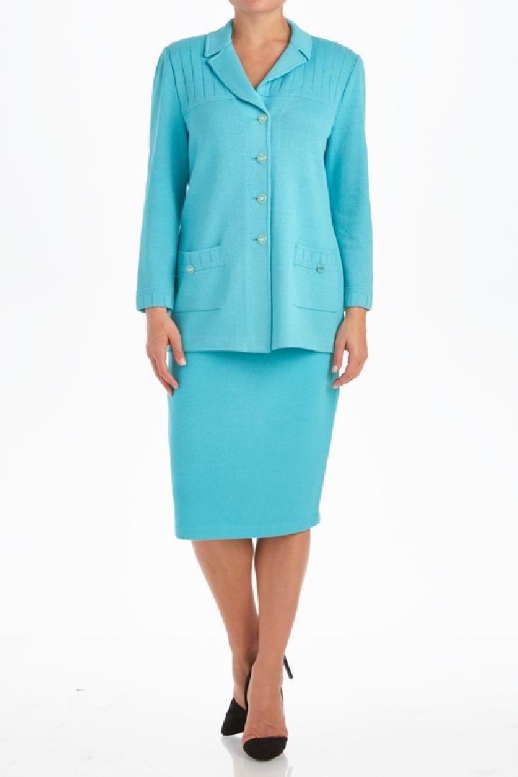 St John Blue Santana Knit Skirt Suit (4/8)