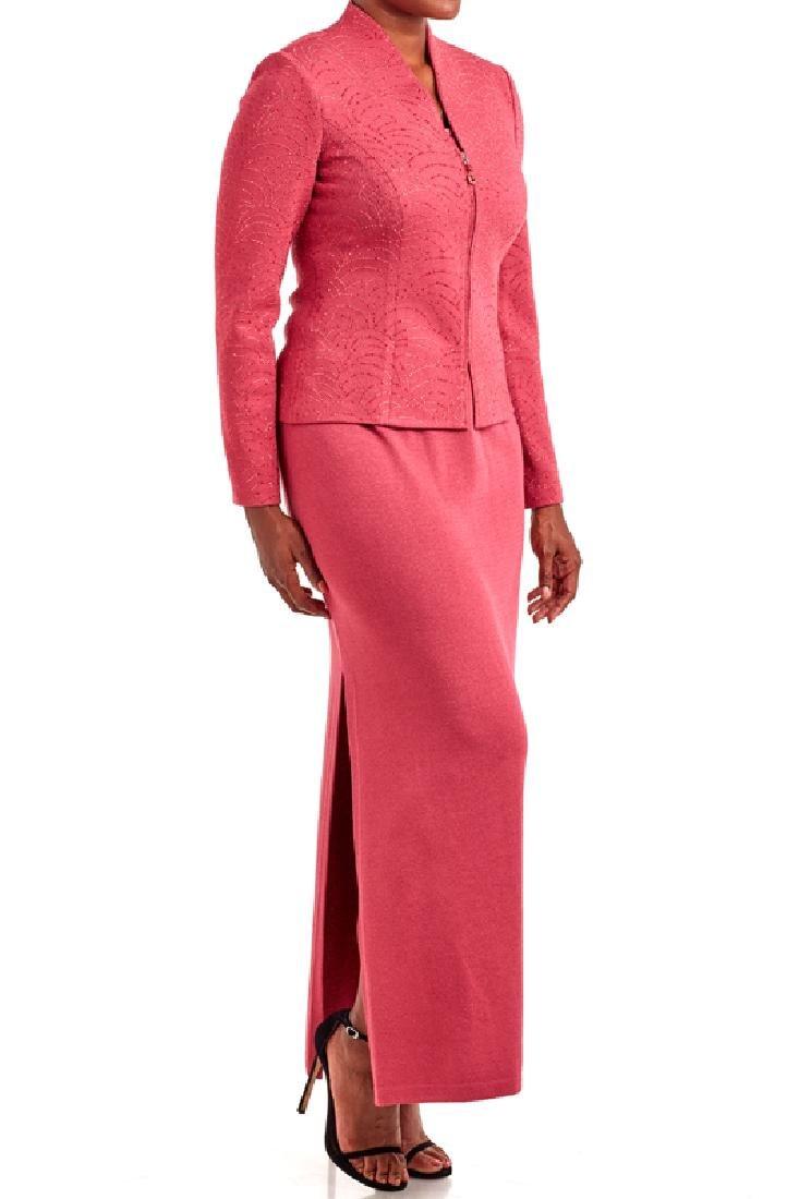 St John Terracotta Knit 4PC Skirt Suit (6/M/8/8)