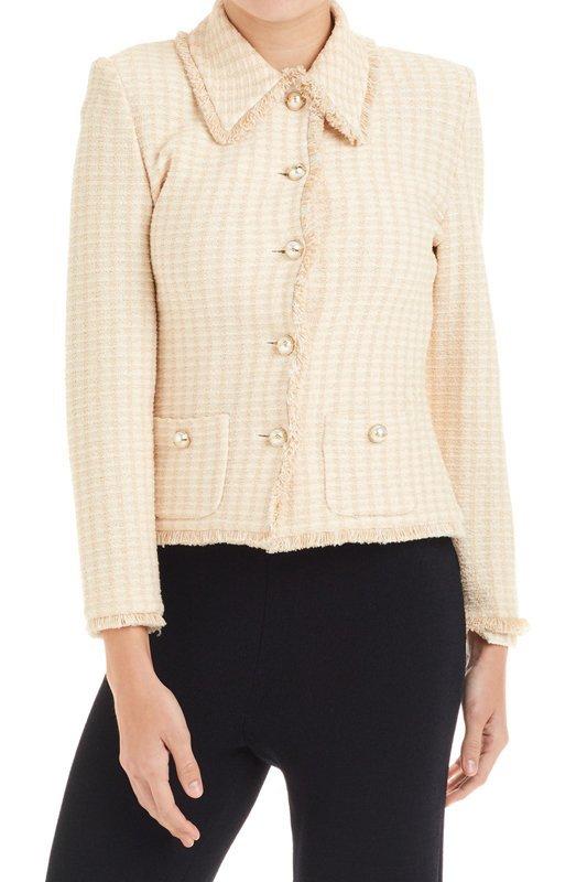 St John Collection Beige & White Santana Knit Jacket 6