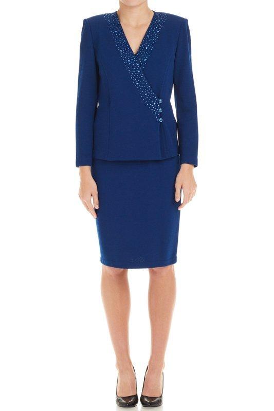 St John Evening Blue Knit Sweater & Skirt Suit (6)