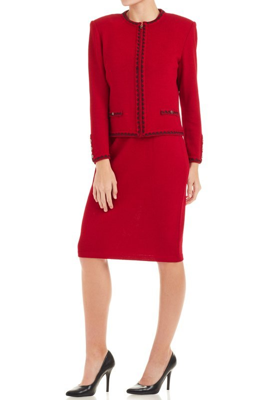 St John Collection Deep Red Knit Skirt Suit 6 8