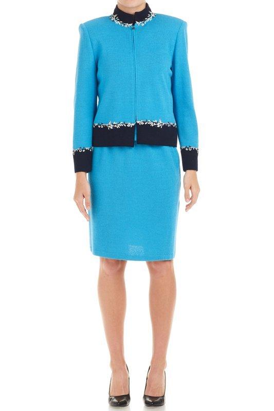 St John Blue & Navy Santana Knit 3PC Skirt Suit 6 M 8