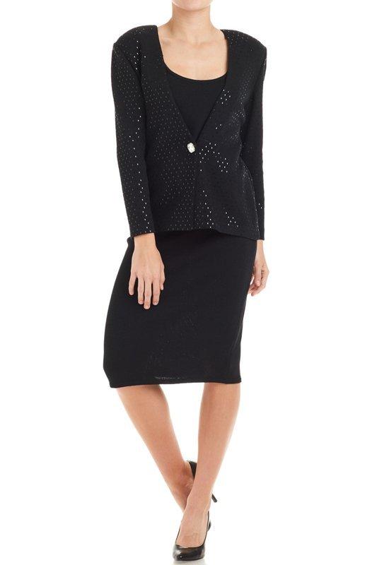 St John Evening Black Sparkly Knit Skirt Suit  8