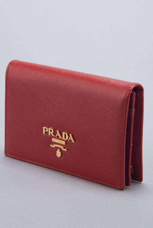 New Prada Red Saffiano Card Holder Wallet