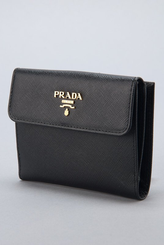 New Prada Black Saffiano Card Holder Wallet