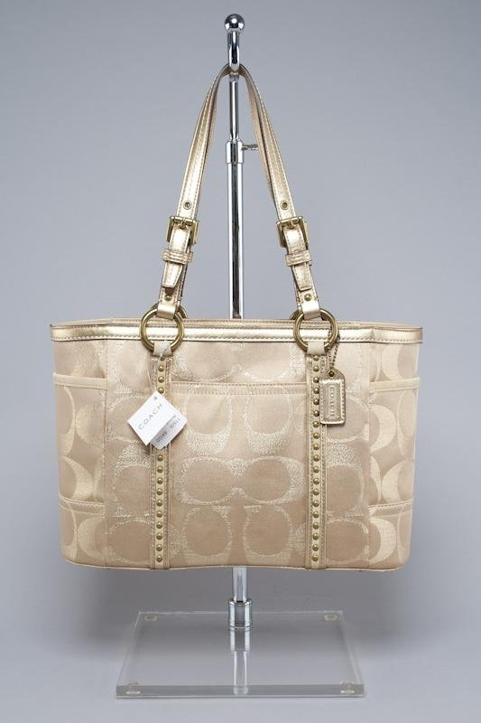 New Coach Signature Studded Gallery Tote Bag