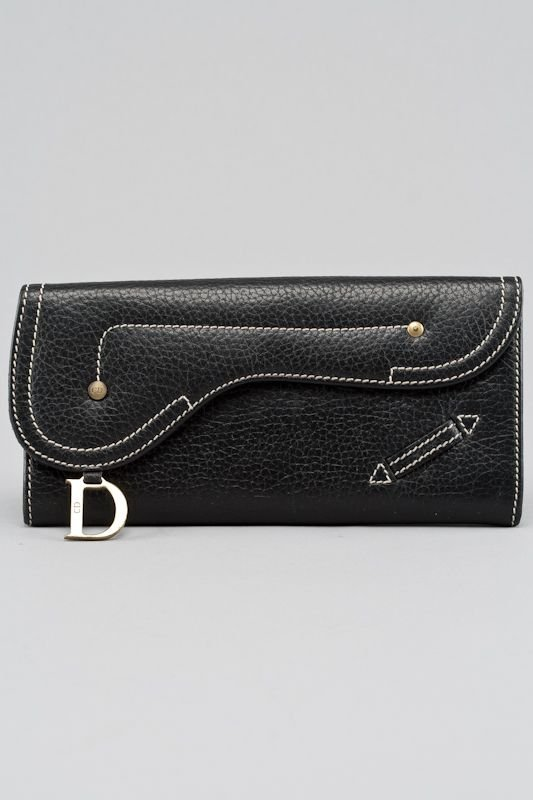 Christian Dior Black Leather Saddle Long Wallet