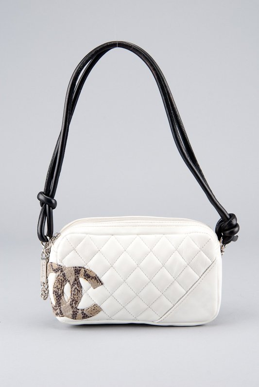 Chanel White Quilted Leather Cambon Pochette Shoulder