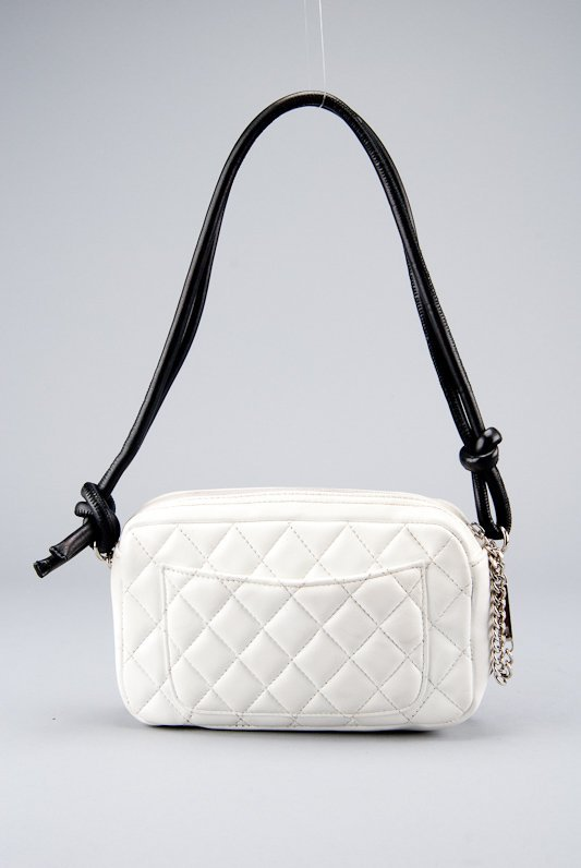 Chanel White Quilted Leather Cambon Pochette Shoulder - 5