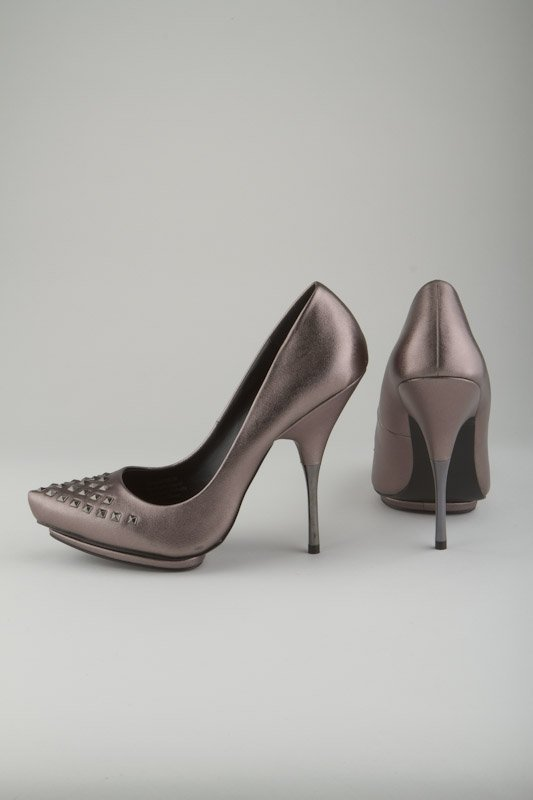 New Rock & Republic Pewter Metallic Stud Stiletto Pumps
