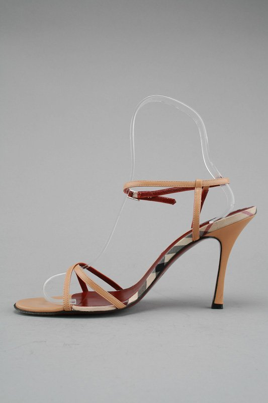Burberry Tan Nova Check Strappy Heels (11/41.5)
