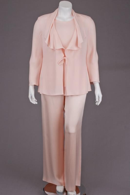 Escada Couture Pink Silk Sweater, Tank Top & Pant Suit