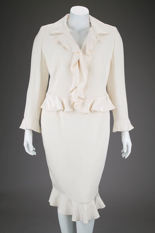 New Escada Silk Ruffle Jacket & Skirt Suit (14/44)