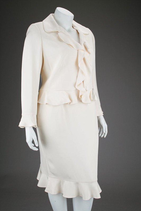New Escada Silk Ruffle Jacket & Skirt Suit (14/44) - 2