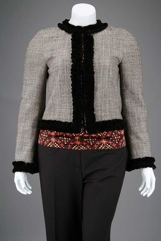 Tory Burch Brown Tweed Velvet Trim Jacket & Blouse Set