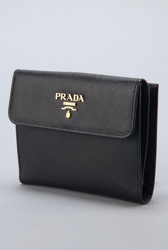 New Prada Black Saffiano Card Holder Wallet