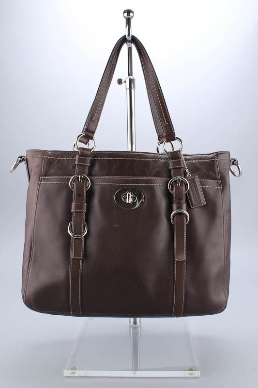 COACH BROWN LEATHER MESSENGER BAG