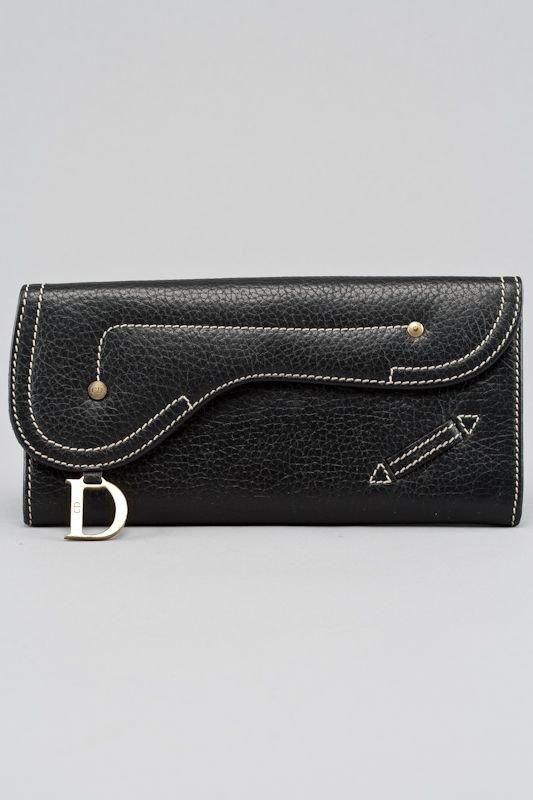 Christian Dior Black Leather Saddle Long Wallet