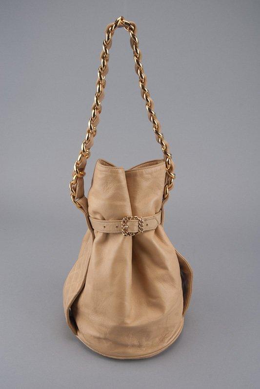 Chanel Tan Lambskin Leather Vintage Bucket Bag