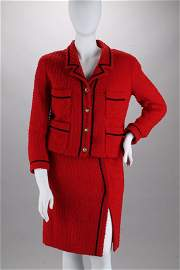 Chanel Red Boucle Skirt Suit (12/44)