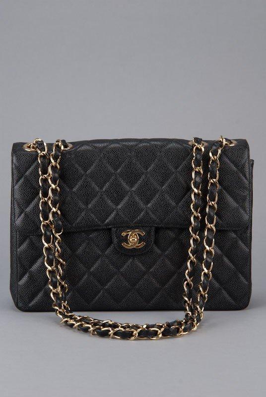 Chanel Black Jumbo Classic Caviar Flap Bag