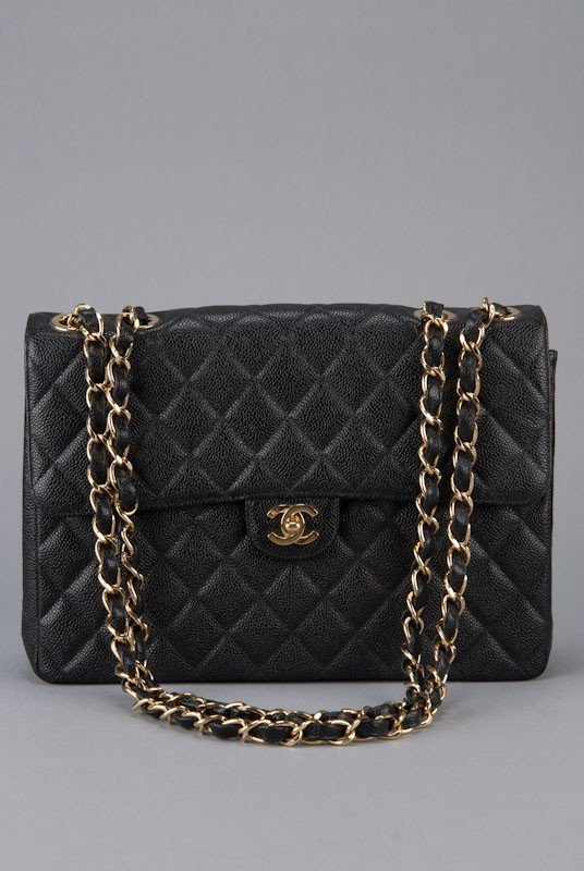 Chanel Black Jumbo Classic Caviar Flap Bag