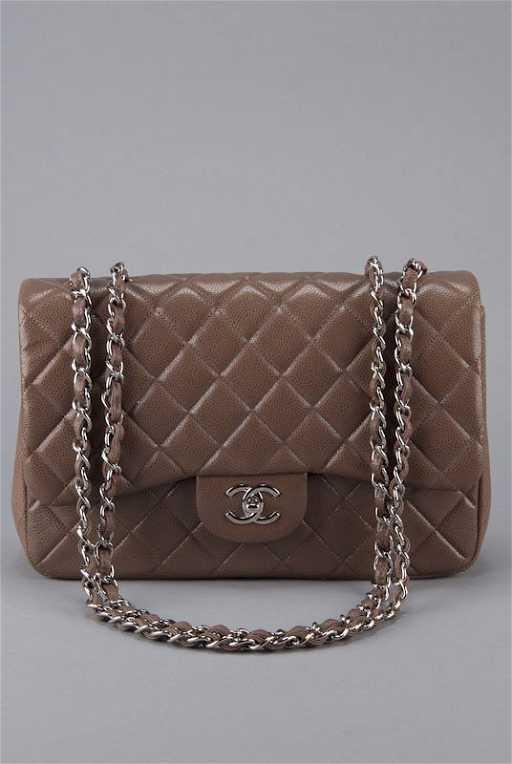 73690b9b329d00 New Chanel Taupe Caviar Classic Jumbo Flap Bag